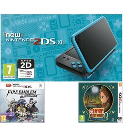Nintendo 2DS XL, black and turquoise + Fire Emblem: Warriors + Layton's: Katrielle and the Millionaires' Conspiracy
