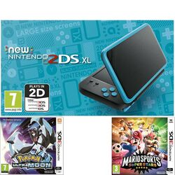 Nintendo 2DS XL, black and turquoise + Pokémon Ultra Moon + Mario Sports Superstars + amiibo karta