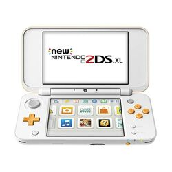 Nintendo 2DS XL, white and orange
