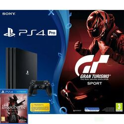 Sony PlayStation 4 Pro 1TB, jet black + Gran Turismo Sport CZ + Bloodborne (Game of the Year Edition)