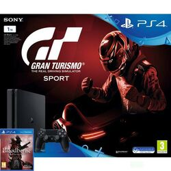 Sony PlayStation 4 Slim 1TB, jet black + Gran Turismo Sport CZ + Bloodborne (Game of the Year Edition)