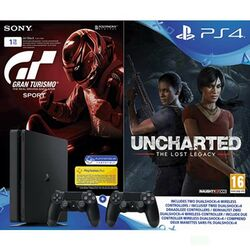 Sony PlayStation 4 Slim 1TB, jet black + Gran Turismo Sport CZ + Uncharted: The Lost Legacy +Sony DualShock 4, jet black