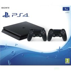 Sony PlayStation 4 Slim 1TB, jet black + Sony DualShock 4 Wireless Controller v2, jet black