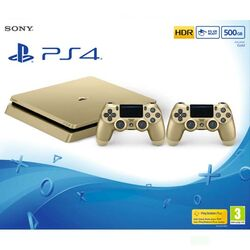 Sony PlayStation 4 Slim 500GB, gold + Sony DualShock 4 Wireless Controller v2, gold