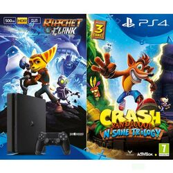 Sony PlayStation 4 Slim 500GB, jet black + Ratchet & Clank + Crash Bandicoot N.Sane Trilogy