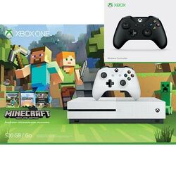 Xbox One S 500GB (Minecraft Favorites Pack) + Microsoft Xbox One S Wireless Controller, black
